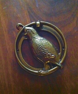 Vintage Brass Door Knocker QUAIL Figural Antique Old Hardware Salvage Unusual