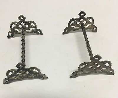 Antique Knife Rests - EPNS Silver - Made in England - Victorian Barley Twist