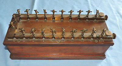 Large Antique Wood and Brass Resistor Box - C3070