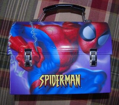 Spider-man Dome Tin School Lunchbox Lunch Box -2005 Marvel Comics