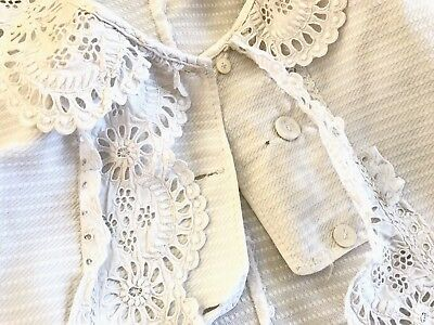 Antique Hand Embroidered Beautiful White Linen Childs Jacket Display Or Re Use