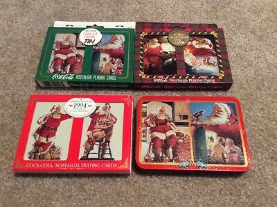 Lot of 4 Coca Cola Nostalgia Playing Cards in Collectible Tins