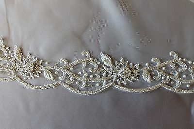 Beautifully Metallic Beaded Lace-Cathedral Length Bridal Veil-Light Ivory
