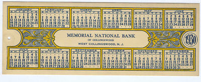Celluloid Calendar  1930 - Bookmark Memorial National Bank Of Collingswood, Nj