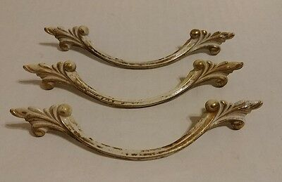 Lot of 3 Solid Brass and White French Drawer Pulls / Cabinet Hardware