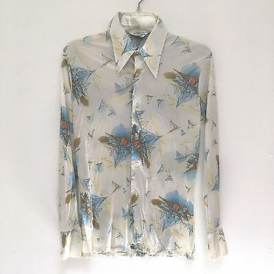 Vintage 70s Troy Craft Medium Button Up Shirt Disco Multi-Color Boat Ship Scene