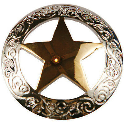 "Concho Gold & Silver Screwback 1"" Engraved Star BC461-21"