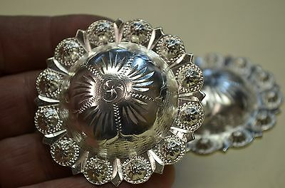 """Finest FLEMING STERLING Large Berry Bead Fancy Saddle CONCHOS 2 3/16"""" *HIGH DOME"""