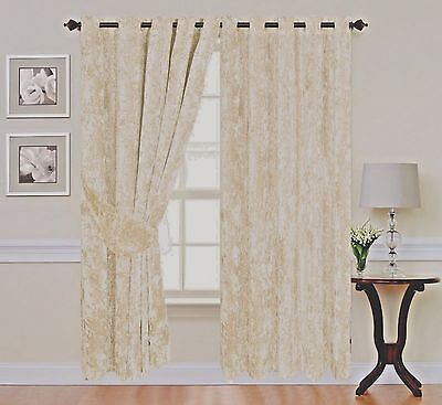 Crushed Velvet Thick Curtains Ring Top Eyelet Ready made fully Lined Cream NEW