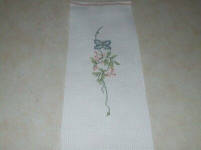Completed Cross Stitch - Very Small Butterfly and Floral Design