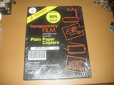 Skilcraft Transparency Film 100 Sheets New Unopened