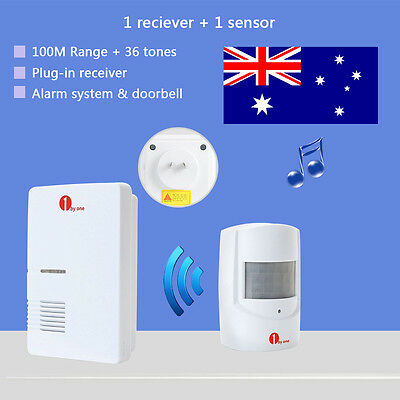 AU Plug-in Receiver Wireless Doorbell Chime Driveway Alarm System 36 Chimes