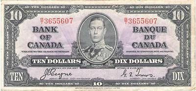 1937 Canada Ten Dollar $10 Bank Of Canada Note