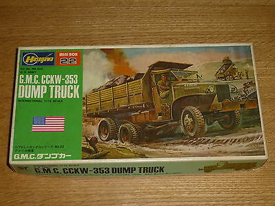 Vintage Hasegawa GMC CCKW 353 Dump Truck 1/72 scale plastic model kit