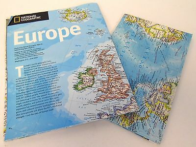 Lot of 2 National Geographic 2004 2005 Europe Earth At Night World2 Sided Maps