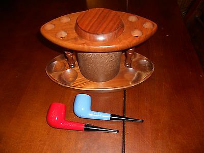 Lot of 2 THE PIPE Vintage Unused Red & Blue Smoking Tobacco Pipes with Holder