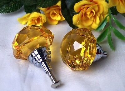 Large Amber Solid Crystal Glass Drawer Pull, Set of 4 Cabinet Door  Knob