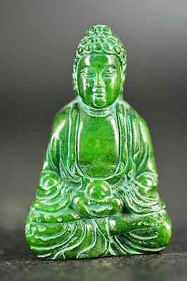 Excellent old green jade carved Buddha Statue/Pendant D71