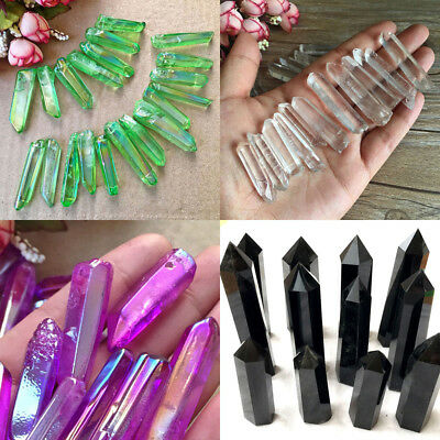 Natural Fluorite Amethyst Quartz Crystal Wand Point Terminated Healing Lot