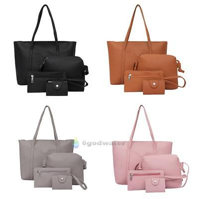 4pcs Women PU Leather Handbag Lady Shoulder Bag Tote Purse Messenger Satchel Set