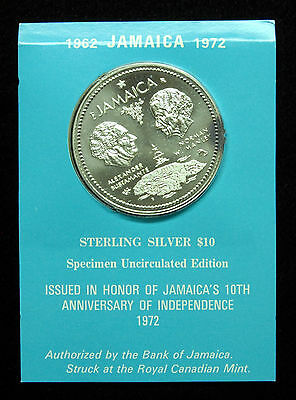 1972 Jamaica UNC $10 (10 Dollar) Silver Coin in Original Packaging