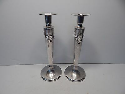 Pair Of Silvercrest Sterling Silver Over Bronze Arts & Crafts Tall Candlesticks
