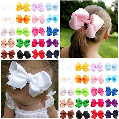 20Pcs Baby Children Girl Bow Ribbon Alligator Hair Clip Hairpin Accessory US a