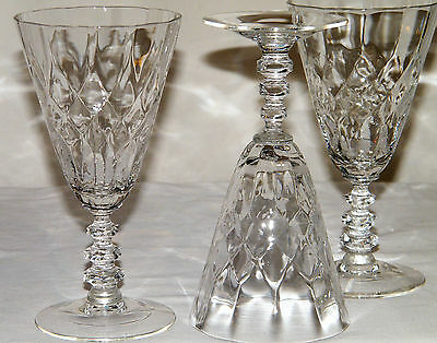 Lovely Vtg/Antique Set (3) CLEAR CRYSTAL WINES CUT GLASS STEMS Optic Bowls EX!