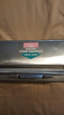 Vintage Halco Stainless Steel Sanitary Straw Dispenser - Double Sided, Standard
