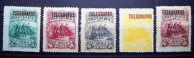 Nicaragua Early Telegraph Stamps 5,10,20,25,& 50 Centavos ... Great Value