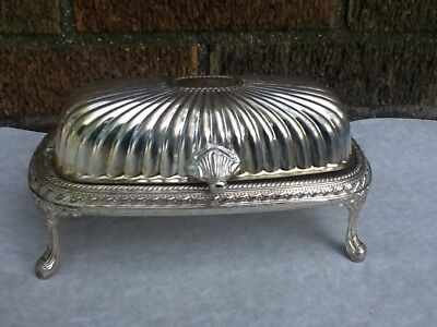 Vintage Silver Plated Metal Footed Butter Dish With Hinged Lid & Glass Insert