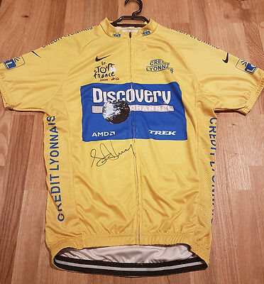 Lance Armstrong Signed Autograph Tour De France Yellow Discovery Team Jersey