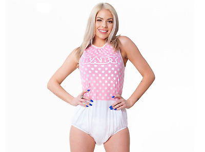 "Unisex Pink ""BABY"" Lettering Polka Dot Snap Closure Romper One Piece"