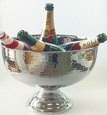 Ice Bucket Stainless Steel Hammered Bowl Punch Champagne Wine Cooler Container
