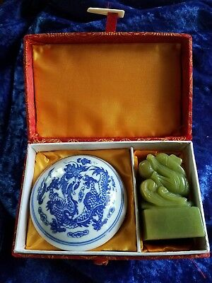 """jade dragon chinese stamp set """"diana"""" seal with red ink pad in china w/blue deco"""