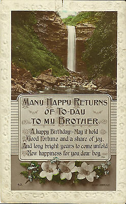 """Birthday Greeting Postcard - """"Many Happy Returns to My Brother"""" -  Early Century"""