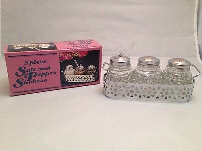 Vintage 5 piece Salt and Pepper Shakers w/ Tray and Spoon Made in Hong Kong