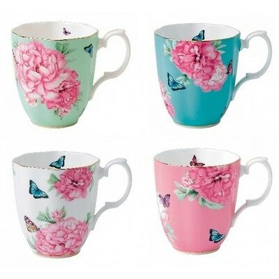 NEW Miranda Kerr for Royal Albert Friendship Mug Set of 4, Turq/Wht/Pink/Green