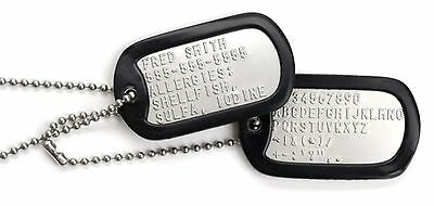 Authentic Us Military Dog Tags - Custom Embossed With Free Necklace & Silencer