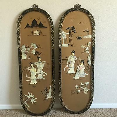 VINTAGE Asian Oriental Gold Oval Mother of Pearl Chinese Carved Shell Wall Panel