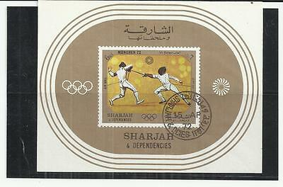 Sharjah 1972 Olympics Fencing Mini Sheet CTO