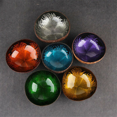 Natural Coconut Shell Bowl Dishes Mosaic Handmade Kitchen Paint Craft Home Decor