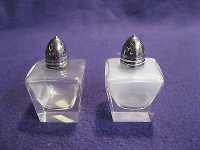 Vintage Clear Cut Glass Block Silver Plated Cap Salt and Pepper Shakers       65