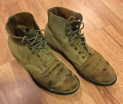 Vintage 1940's Mens USN Boondockers Rough Out Boots Work Wear 10.5 Cool!!