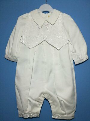 Brand New White Boy Christening Gown/Baptism/wedding Outfit Romper/ Suit 0-12M