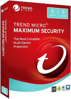 Trend Micro Maximum Security 2017 3 Devices 3 year License Key
