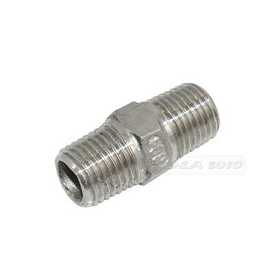 """1/4"""" Male x1/4"""" Male Hex Nipple Stainless Steel 304 Threaded Pipe Fitting BSPT"""