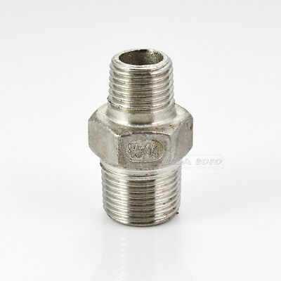 "3/8"" x 1/4"" Male Hex Nipple Threaded Reducer Pipe Fitting SS 304 BSP CL"