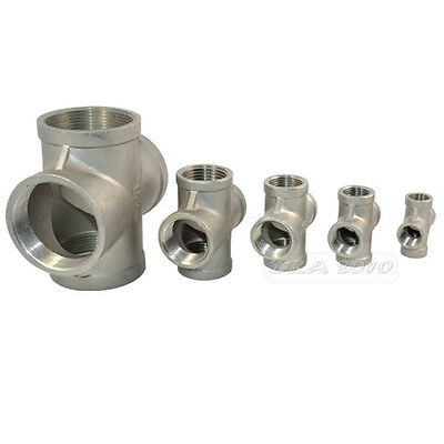 "3/8"" -2""Thread 4 Way Female Cross Coupling Connector SS 304 Pipe Fitting BSPT CL"