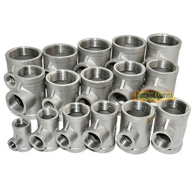 304 Stainless Steel 3 Way Female Threaded Reducer BSP T Pipe Fittings CL
